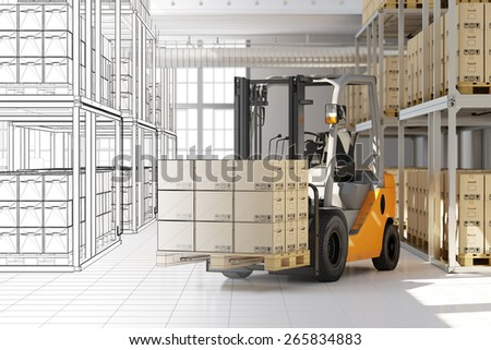 Planning of warehouse in forwarding agency from CAD mesh to 3D Rendering - stock photo