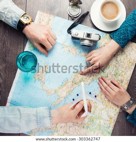 planning vacation trip with map. Top view. Instagram style photo. romantic getaway - stock photo