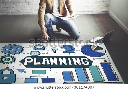 Planning Vision Objectives Guide Desing Process Concept - stock photo