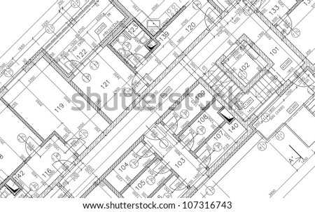 Plans of building - stock photo