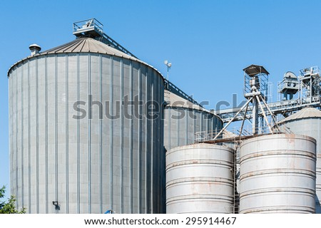Plant for the drying and storage of cereals - stock photo