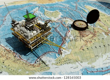 Plant for the extraction of oil on the world map. - stock photo