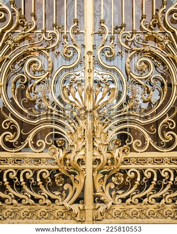 Plant motif detail of a golden metal door in Paris, France - stock photo
