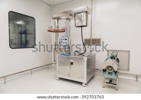 plant picture, clean room equipment and stainless steel machines - stock photo