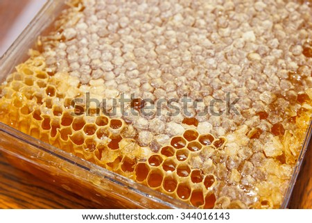 plasic boxes with honey in honeycomb on wooden table - stock photo