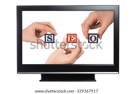 plasma or lcd television with seo concept - stock photo