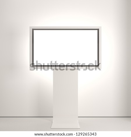 Plasma screen on white wall - stock photo