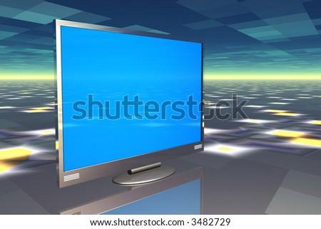 Plasma television on reflective surface - stock photo