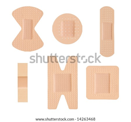 Plasters isolated [clipping path for all plasters] - stock photo