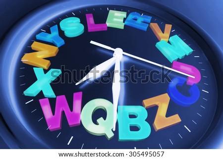 Plastic Alphabets on Wall Clock - stock photo