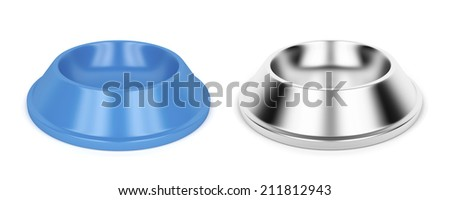 Plastic and metal pet bowls - stock photo