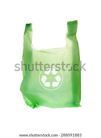 Plastic Bag and recycle symbol on White Background - stock photo