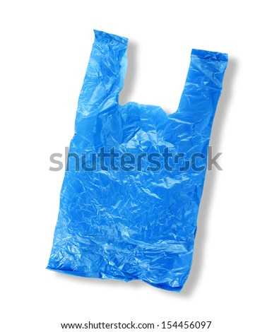 Plastic bag empty on white - stock photo