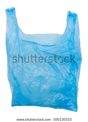 Plastic bag empty. Plastic bags are the cause of major environmental concerns. Object is isolated on white background without shadows. - stock photo