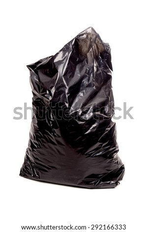 plastic bag isolated in white - stock photo