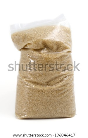 Plastic Bag of Sugar Isolated on White - stock photo