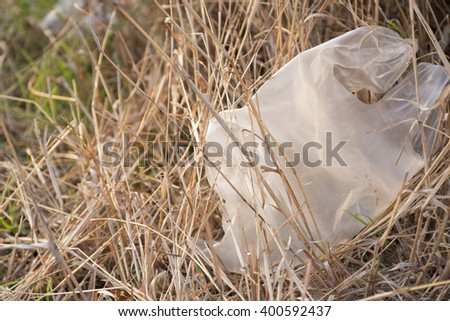 Plastic bag with nature - stock photo