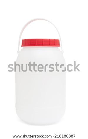 Plastic barrel isolated on white - stock photo