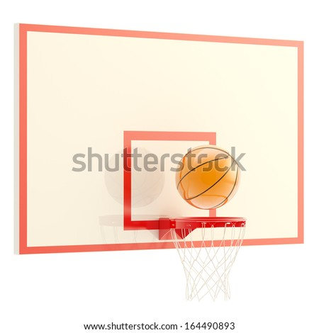 Plastic basketball ball over hoop isolated on white background, 3d render - stock photo