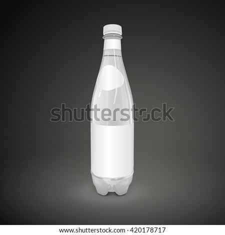 plastic beverage bottle with blank label isolated on black background. 3D illustration. - stock photo