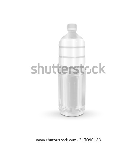 plastic beverage bottle with blank label isolated on white background - stock photo