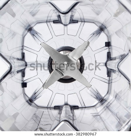 Plastic blender with steel knives, top view - stock photo