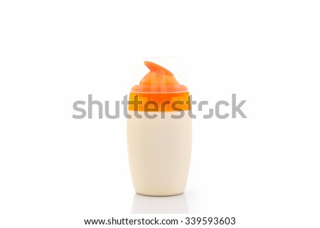 Plastic bottle for beauty product on white background. - stock photo