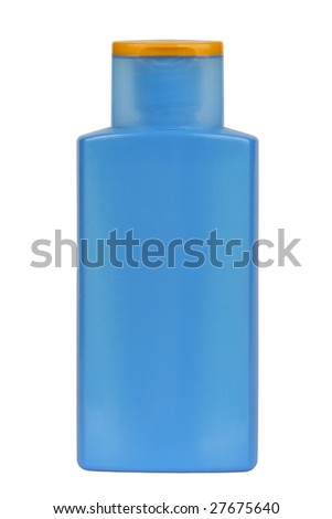 Plastic bottle for sunscreen, lotion, soap, shampoo, etc. Isolated on white. Clipping path included. - stock photo