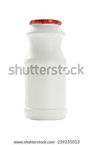 Plastic bottle milk container isolated on white background. - stock photo