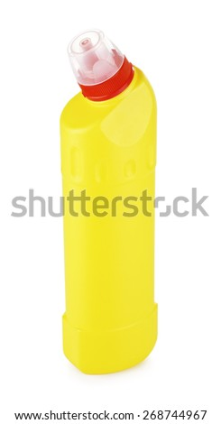 plastic bottle of cleaning products, isolated on white - stock photo