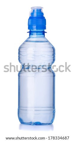 Plastic bottle of clear water isolated on white - stock photo