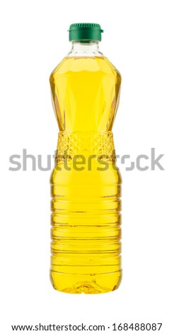 Plastic bottle of cooking oil isolated on white background - stock photo