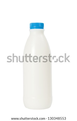 Plastic bottle of milk on a white background. Clipping path included. - stock photo