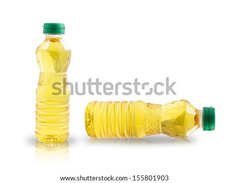 plastic bottle of oil isolated on white background - stock photo