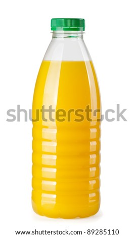 Plastic bottle of orange juice isolated on white - stock photo