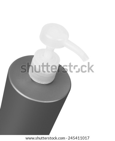 Plastic bottle of shampoo, conditioner, hair rinse, gel, isolated on a white background - stock photo