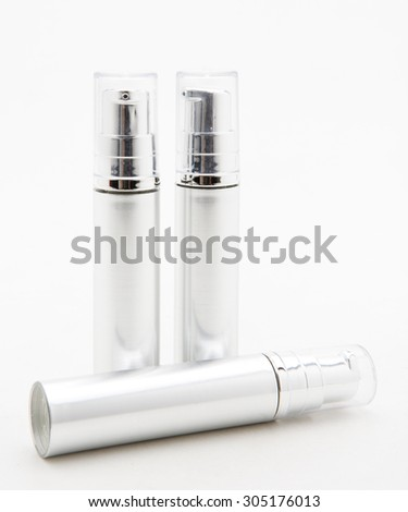 Plastic bottle of skin care product on white background - stock photo