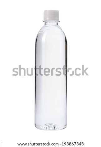 plastic bottle of water isolated on a white background - stock photo