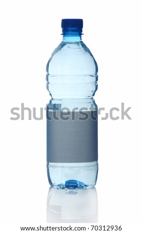 Plastic bottle of water isolated on white background - stock photo