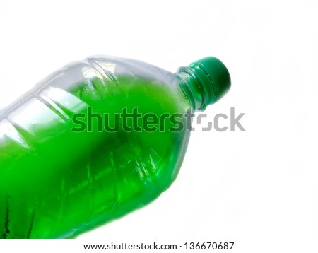 Plastic bottle with a drink. - stock photo