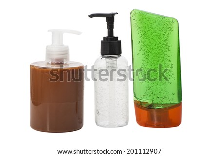 Plastic Bottle with liquid soap and pump bottle gel on a white background  - stock photo