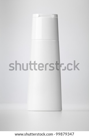 Plastic bottle with soap or shampoo. - stock photo