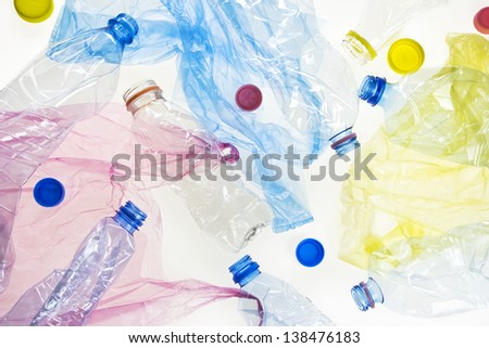plastic bottles and bags background - stock photo
