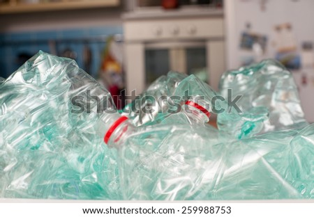 Plastic bottles for recycling - stock photo