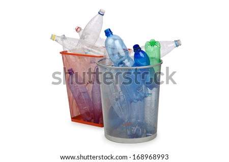 Plastic bottles in recycling concept - stock photo