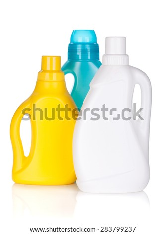 Plastic bottles of cleaning product. Isolated on white background - stock photo