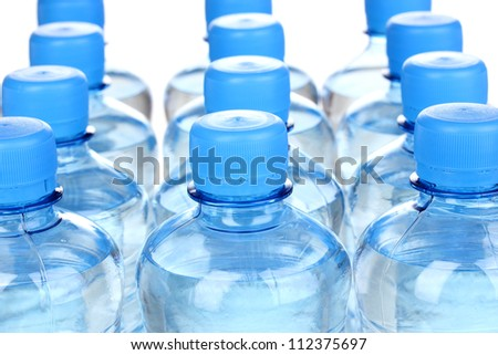 plastic bottles of water close-up - stock photo