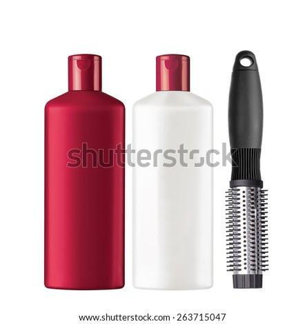 Plastic bottles shampoo and comb isolated on white background - stock photo