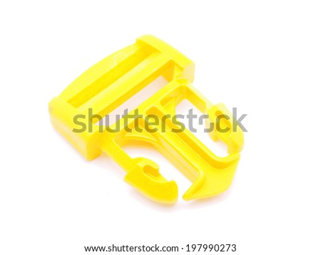 plastic buckle on a whita background - stock photo