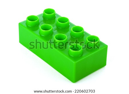 Plastic building blocks, isolated on white - stock photo